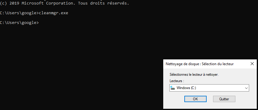 commande cmd cleanmgr.exe