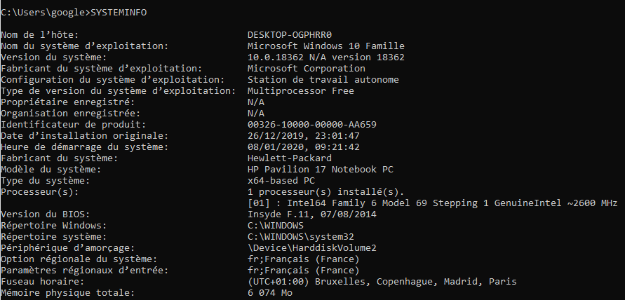 """Commande cmd Connaitre la configuration de votre pc """"SYSTEMINFO """""""