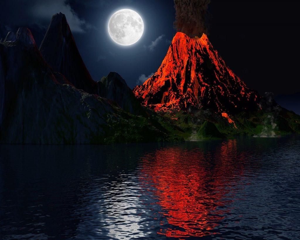 volcan en éruption 2021
