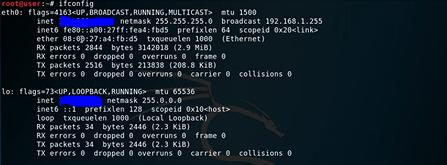 commande hack kali linux ifconfig